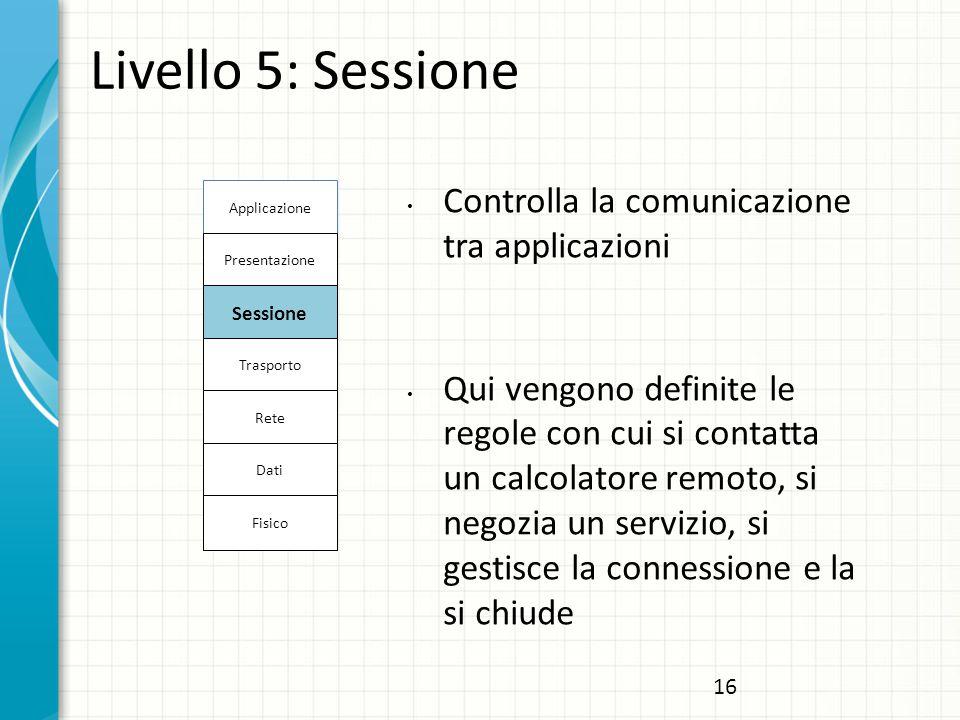 Livello 5: Sessione Controlla la comunicazione tra applicazioni