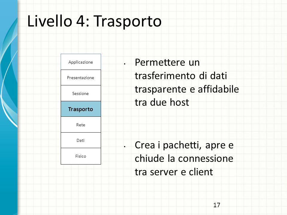 Livello 4: Trasporto Applicazione. Permettere un trasferimento di dati trasparente e affidabile tra due host.