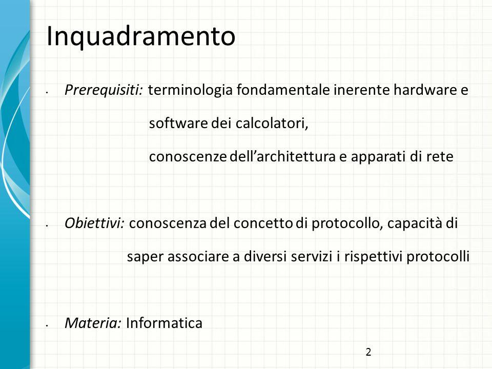 Inquadramento Prerequisiti: terminologia fondamentale inerente hardware e. software dei calcolatori,