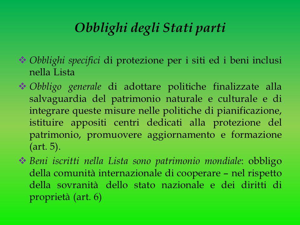 Obblighi degli Stati parti