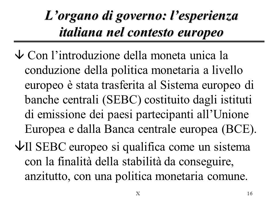 L'organo di governo: l'esperienza italiana nel contesto europeo