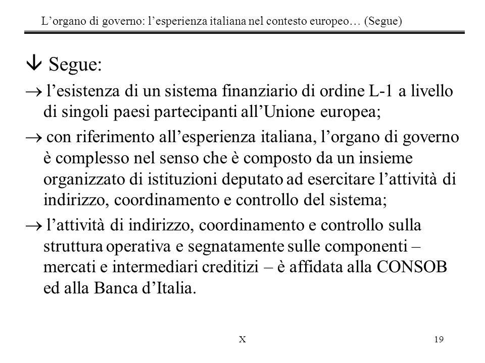 L'organo di governo: l'esperienza italiana nel contesto europeo… (Segue)