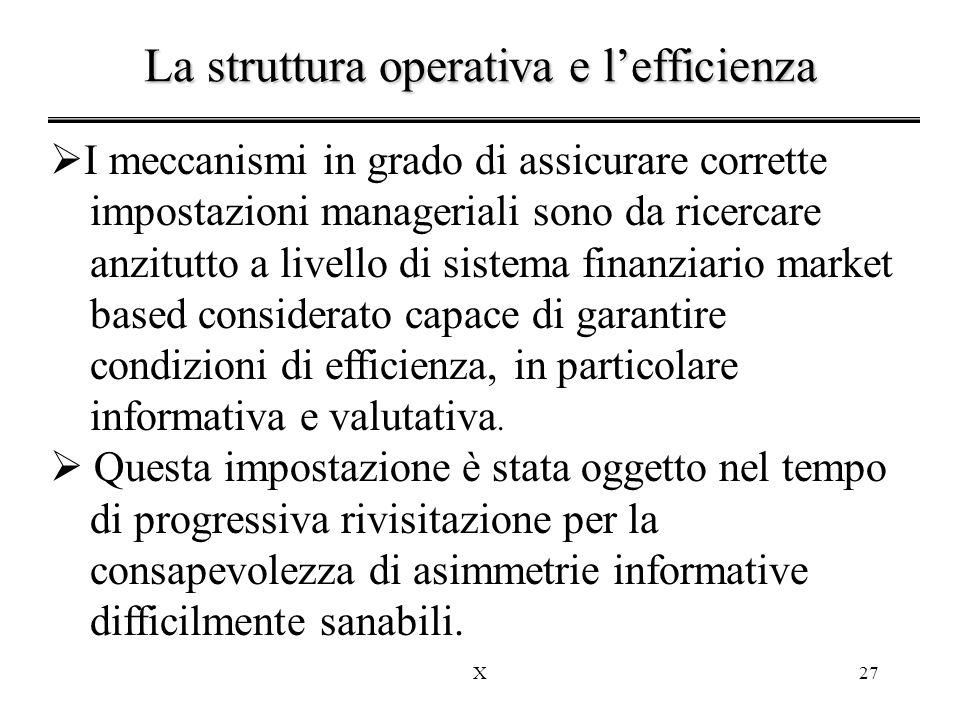 La struttura operativa e l'efficienza