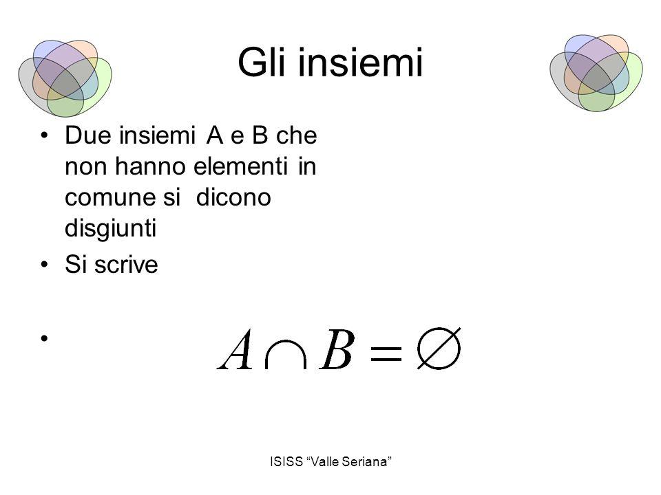 Gli insiemi Due insiemi A e B che non hanno elementi in comune si dicono disgiunti.