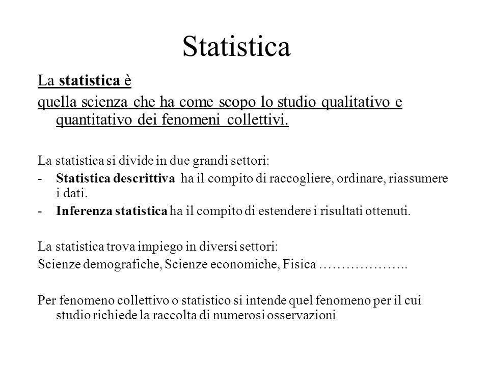 Statistica La statistica è