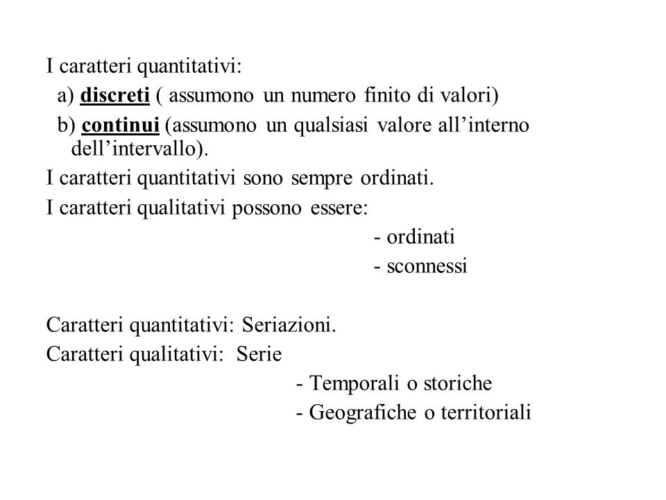I caratteri quantitativi: