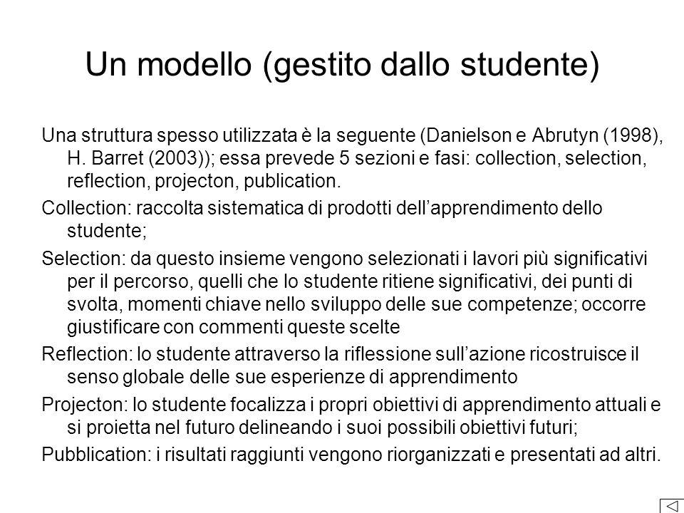 Un modello (gestito dallo studente)