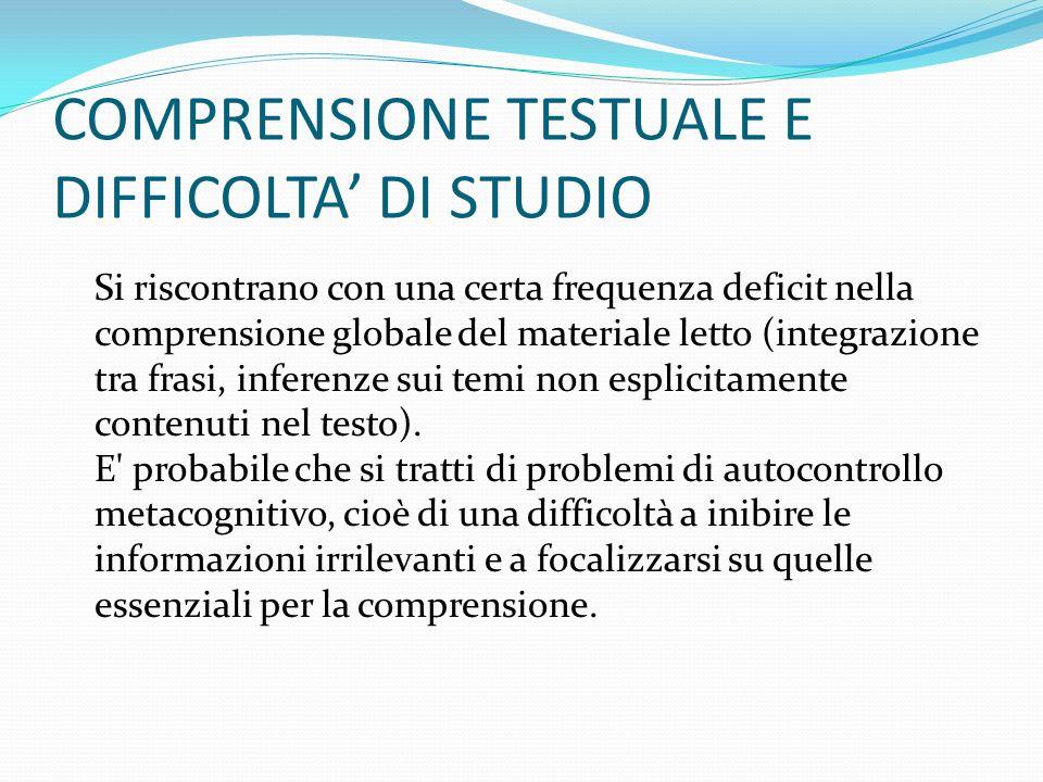 COMPRENSIONE TESTUALE E DIFFICOLTA' DI STUDIO