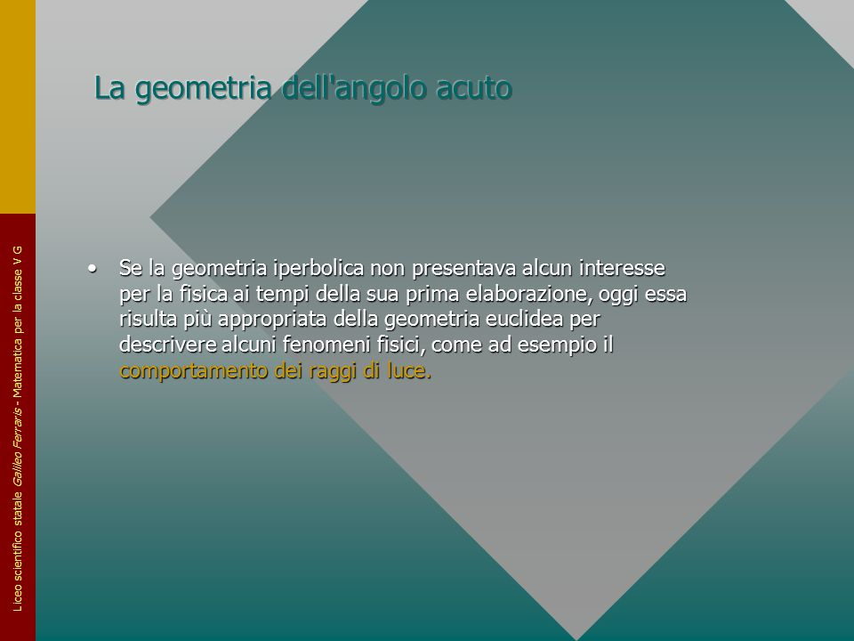 La geometria dell angolo acuto