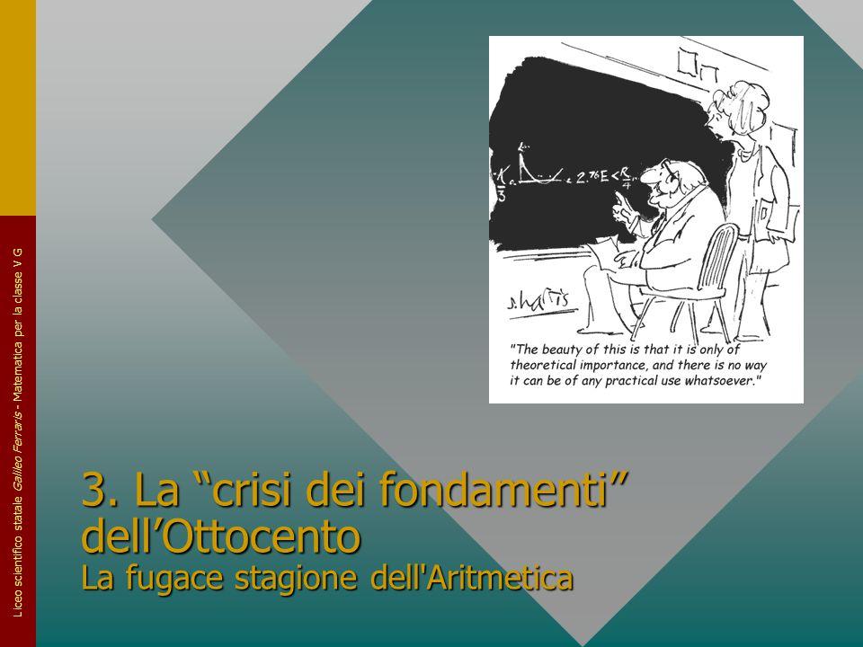 3. La crisi dei fondamenti dell'Ottocento La fugace stagione dell Aritmetica