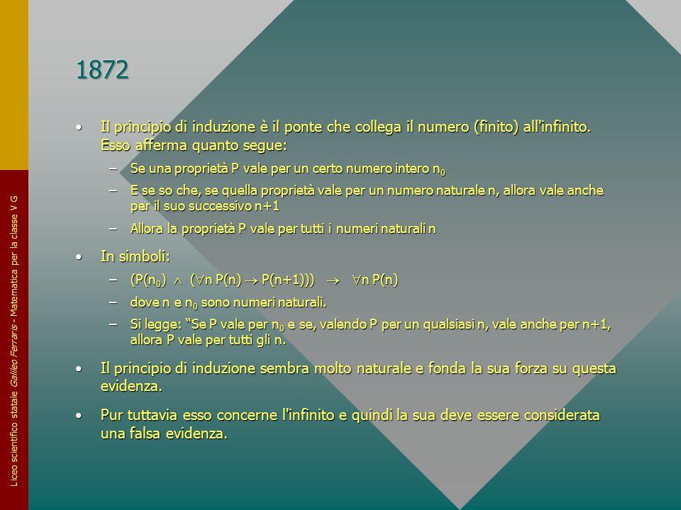 1872 Il principio di induzione è il ponte che collega il numero (finito) all infinito. Esso afferma quanto segue: