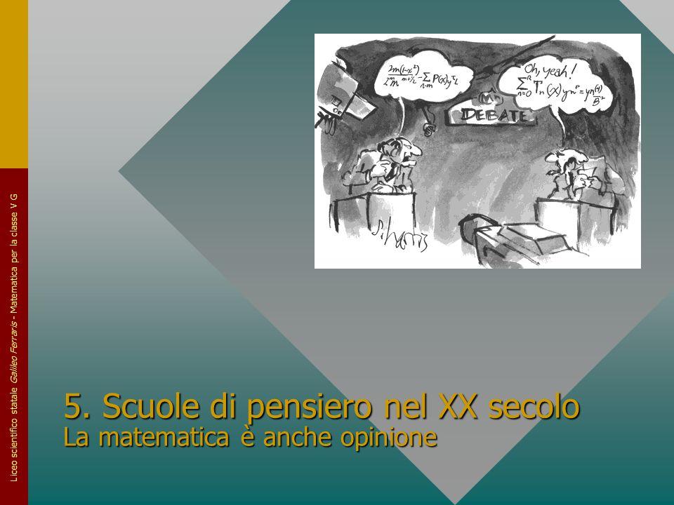 5. Scuole di pensiero nel XX secolo La matematica è anche opinione