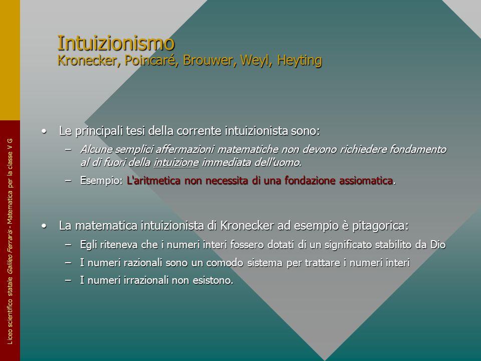 Intuizionismo Kronecker, Poincaré, Brouwer, Weyl, Heyting