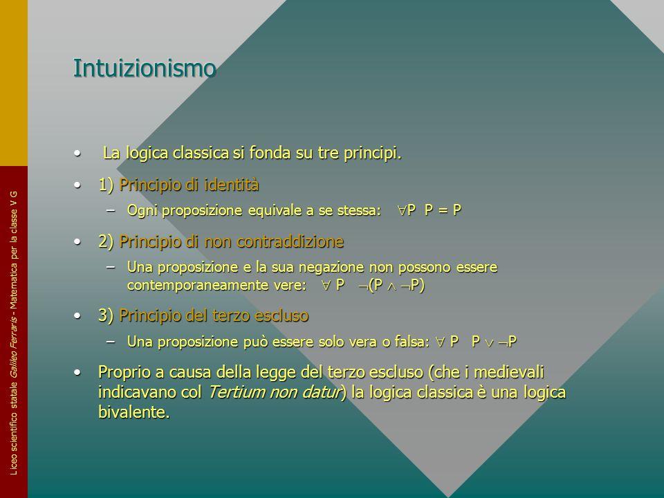 Intuizionismo La logica classica si fonda su tre principi.