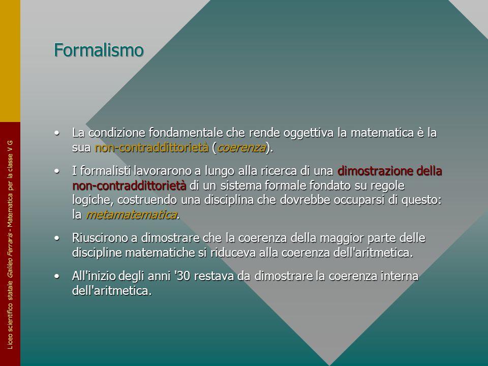 Formalismo La condizione fondamentale che rende oggettiva la matematica è la sua non-contraddittorietà (coerenza).