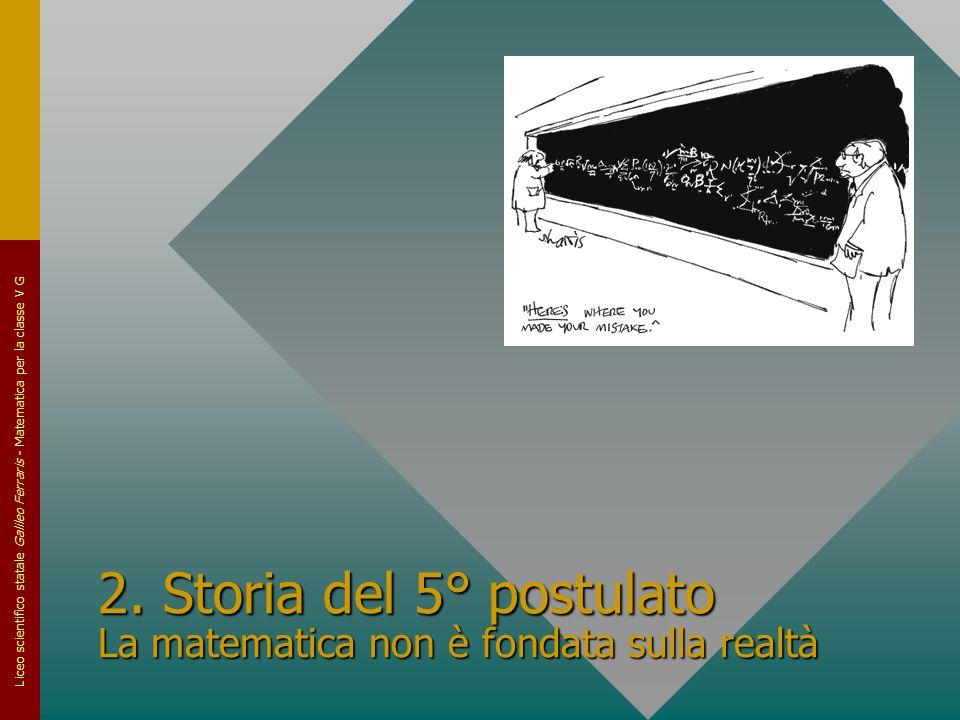 2. Storia del 5° postulato La matematica non è fondata sulla realtà