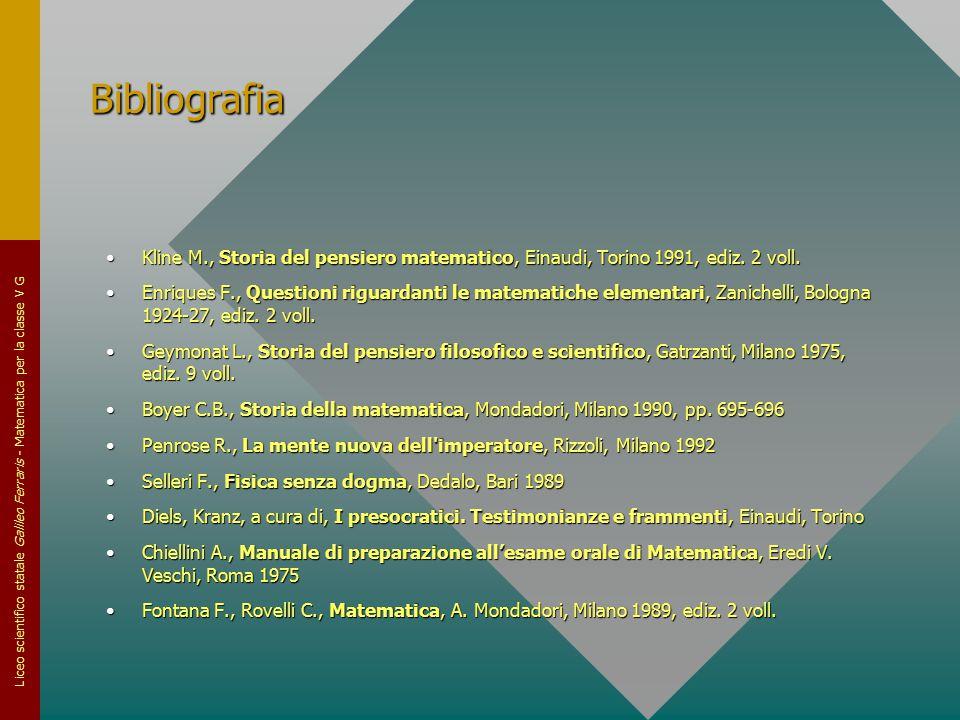 Bibliografia Kline M., Storia del pensiero matematico, Einaudi, Torino 1991, ediz. 2 voll.
