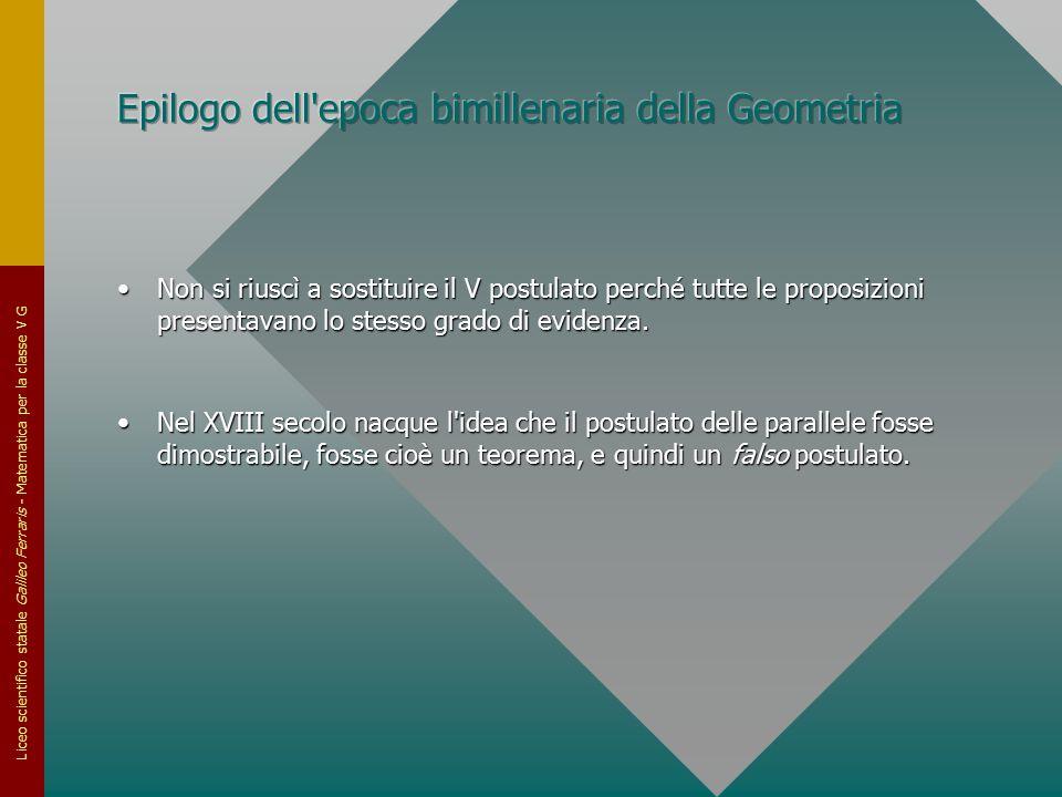 Epilogo dell epoca bimillenaria della Geometria