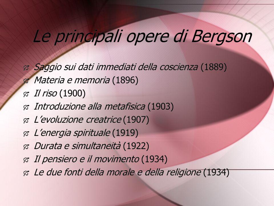 Le principali opere di Bergson