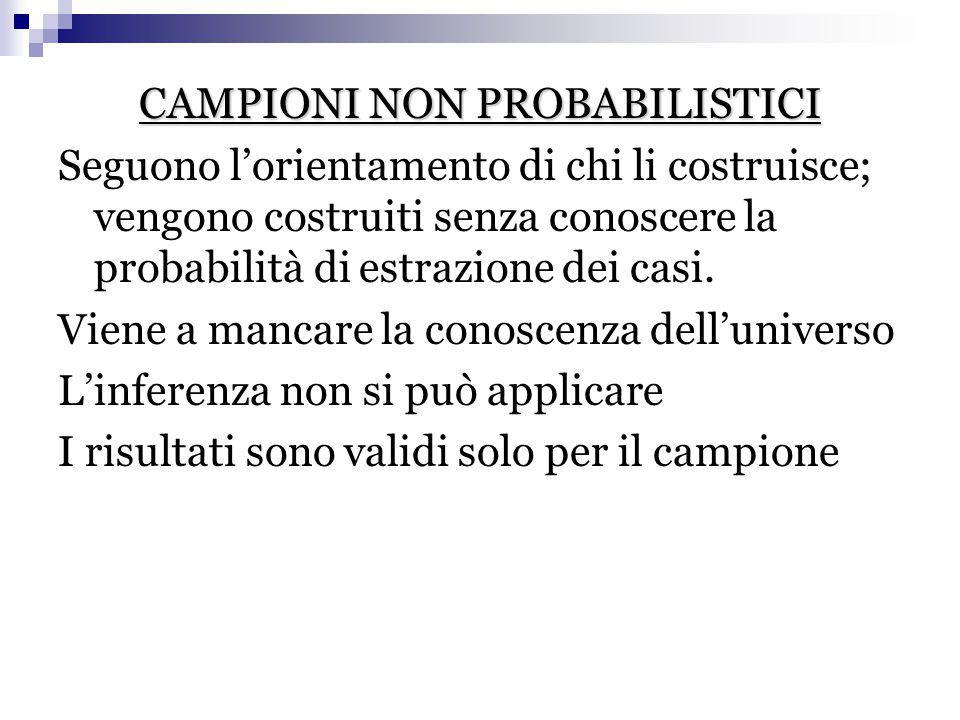 CAMPIONI NON PROBABILISTICI