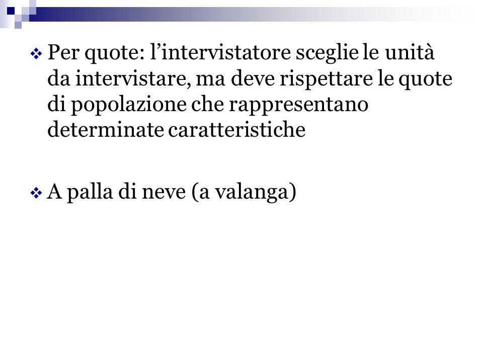 Per quote: l'intervistatore sceglie le unità da intervistare, ma deve rispettare le quote di popolazione che rappresentano determinate caratteristiche