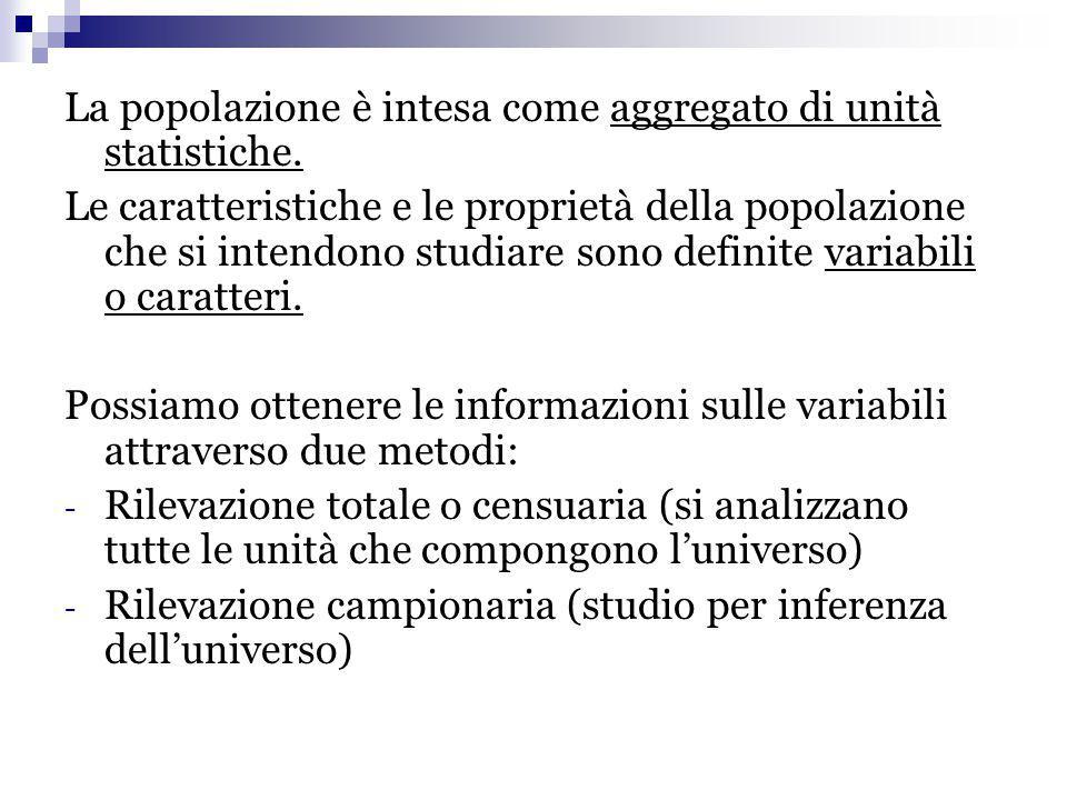 La popolazione è intesa come aggregato di unità statistiche.