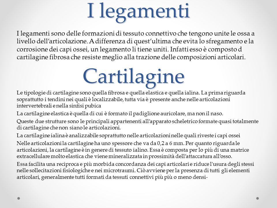 I legamenti Cartilagine