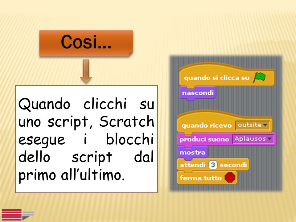 Cosi… Quando clicchi su uno script, Scratch esegue i blocchi dello script dal primo all'ultimo.
