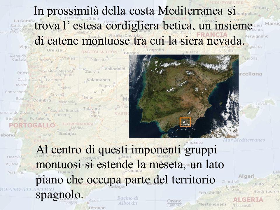 In prossimità della costa Mediterranea si trova l' estesa cordigliera betica, un insieme di catene montuose tra cui la siera nevada.