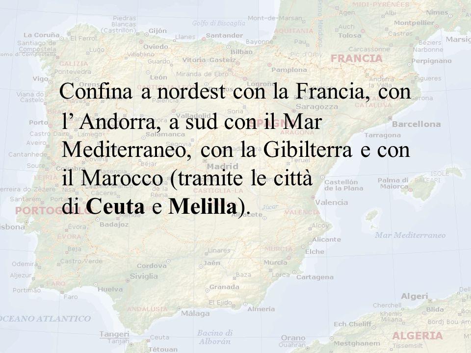 Confina a nordest con la Francia, con l' Andorra, a sud con il Mar Mediterraneo, con la Gibilterra e con il Marocco (tramite le città di Ceuta e Melilla).