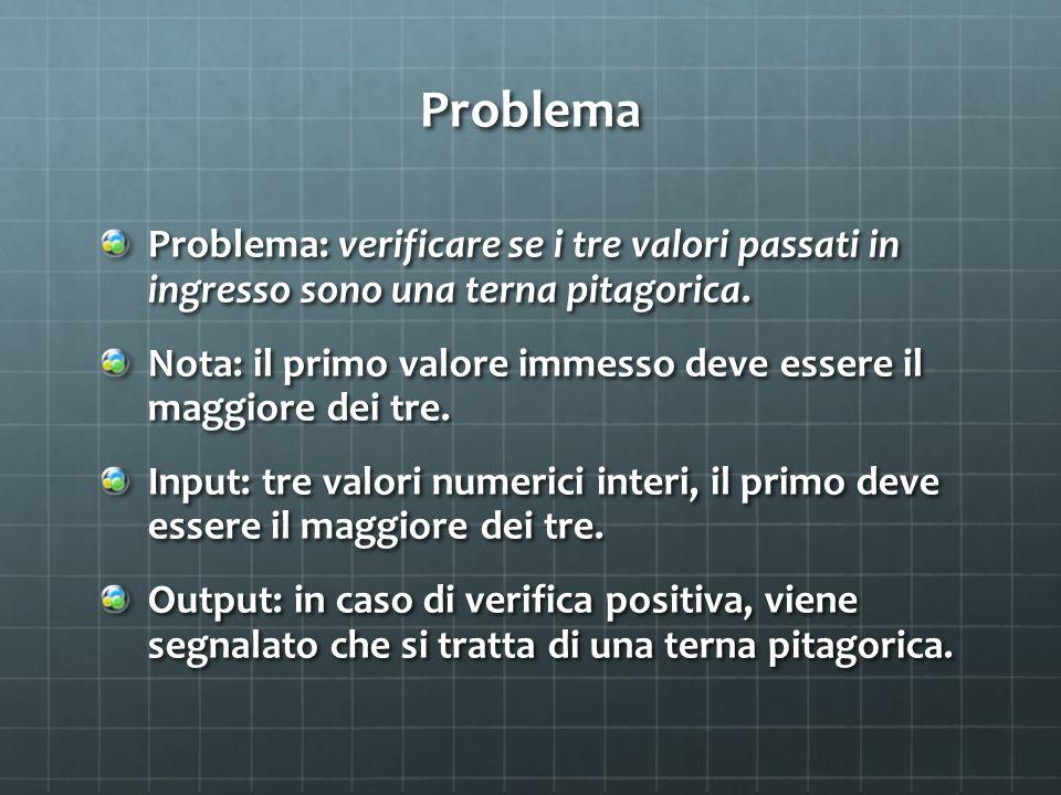 Problema Problema: verificare se i tre valori passati in ingresso sono una terna pitagorica.