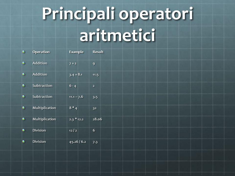 Principali operatori aritmetici