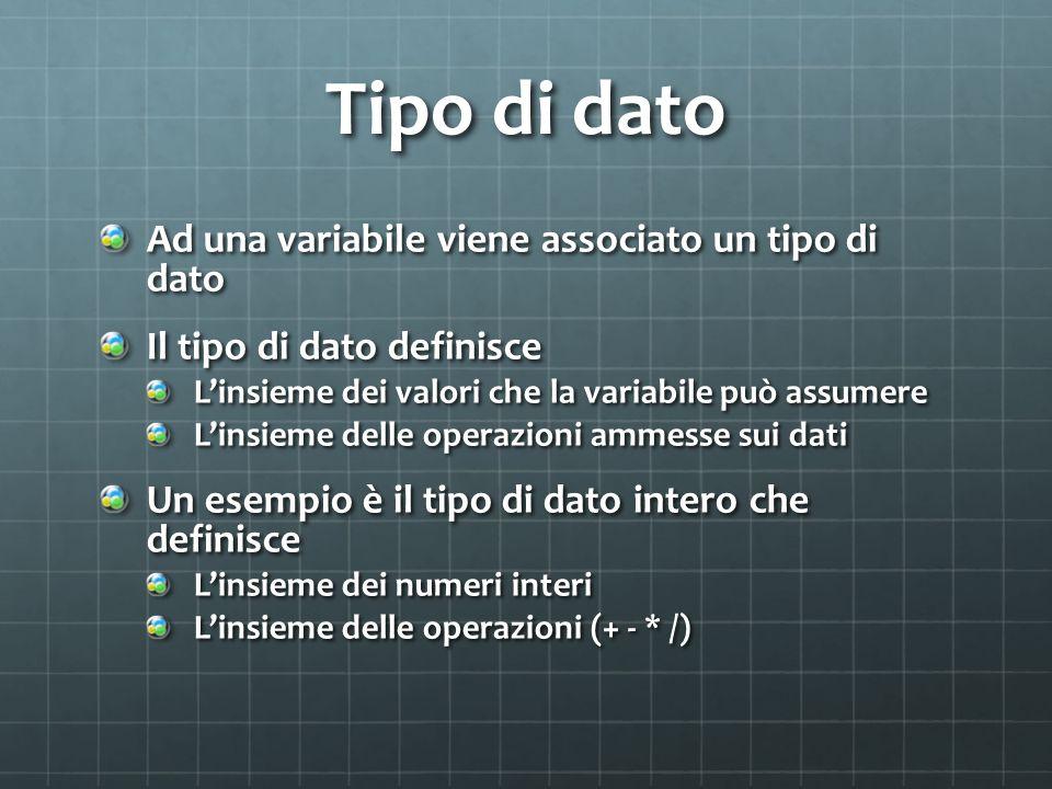 Tipo di dato Ad una variabile viene associato un tipo di dato