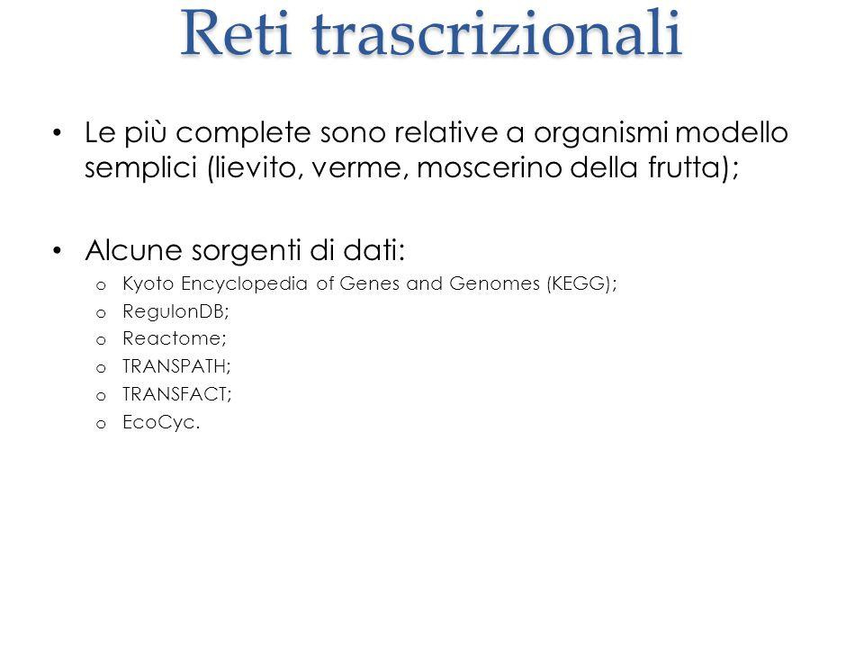 Reti trascrizionali Le più complete sono relative a organismi modello semplici (lievito, verme, moscerino della frutta);