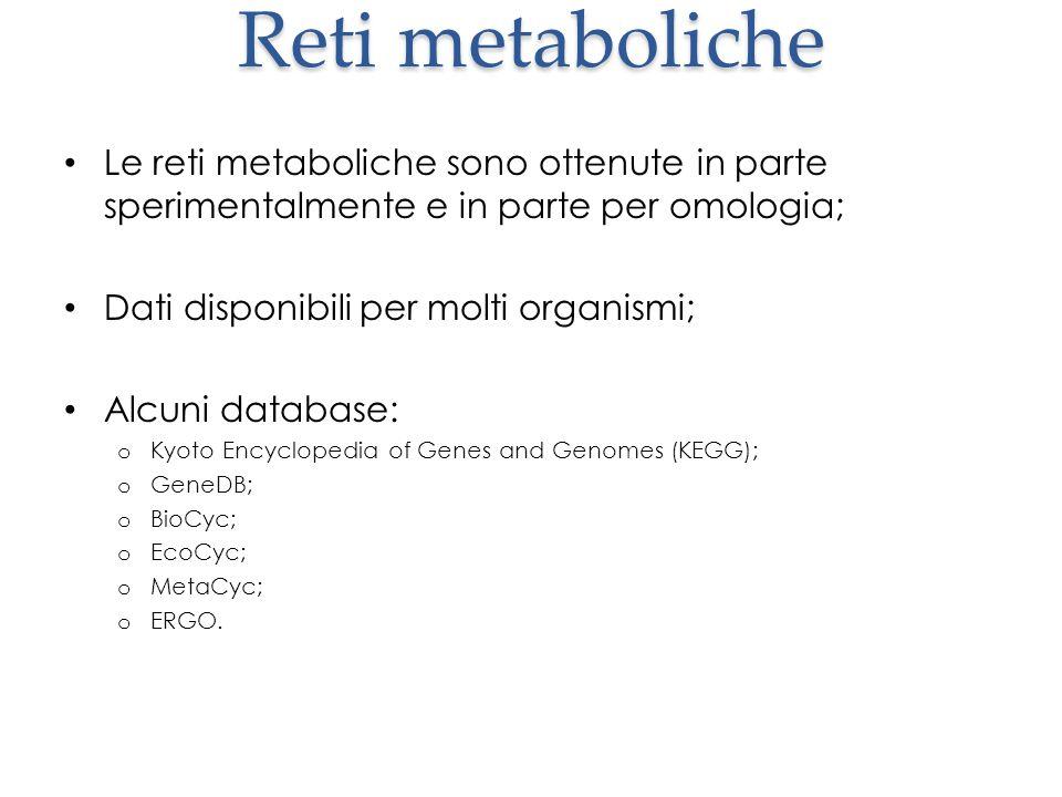 Reti metaboliche Le reti metaboliche sono ottenute in parte sperimentalmente e in parte per omologia;