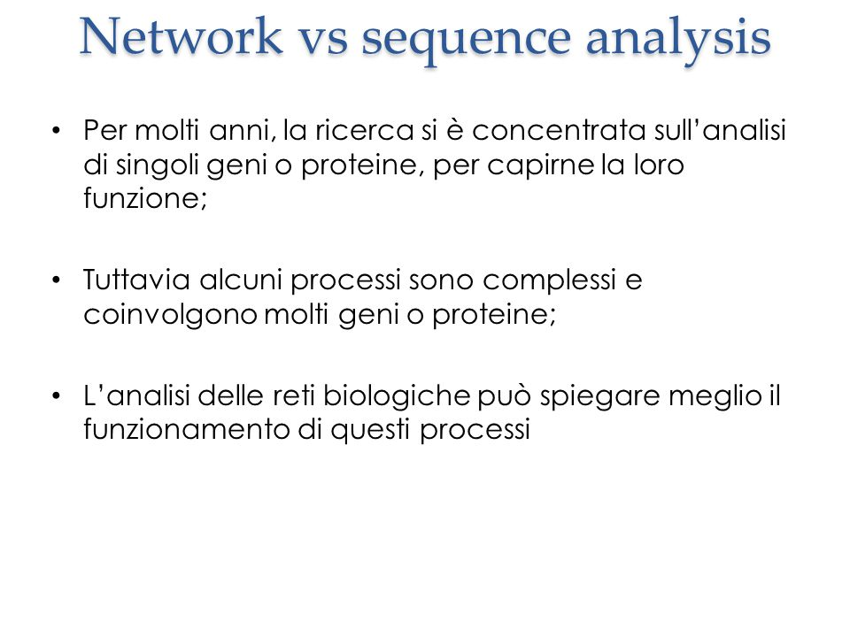 Network vs sequence analysis