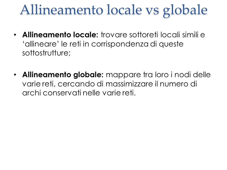 Allineamento locale vs globale