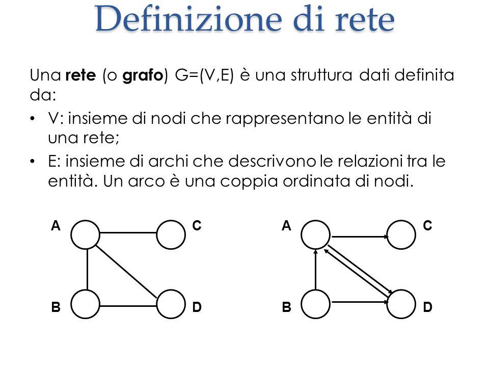 Definizione di rete Una rete (o grafo) G=(V,E) è una struttura dati definita da: V: insieme di nodi che rappresentano le entità di una rete;