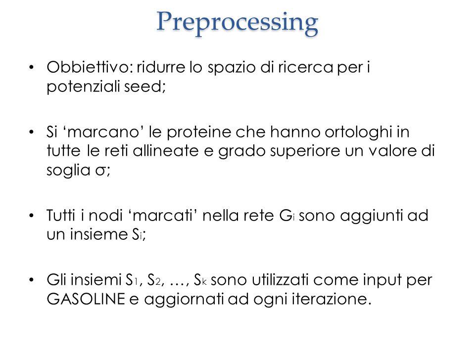 Preprocessing Obbiettivo: ridurre lo spazio di ricerca per i potenziali seed;