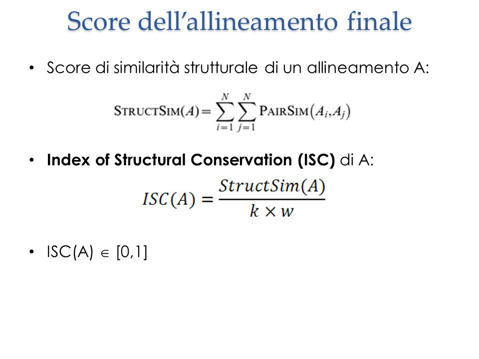 Score dell'allineamento finale