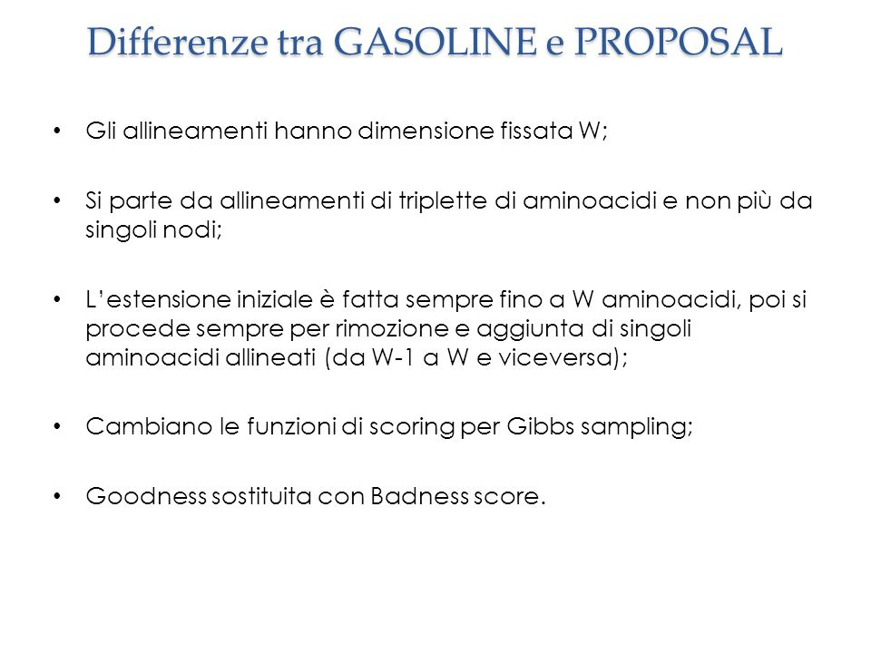 Differenze tra GASOLINE e PROPOSAL
