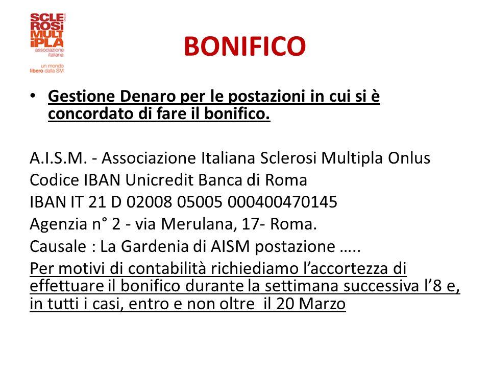 BONIFICO Gestione Denaro per le postazioni in cui si è concordato di fare il bonifico. A.I.S.M. - Associazione Italiana Sclerosi Multipla Onlus.