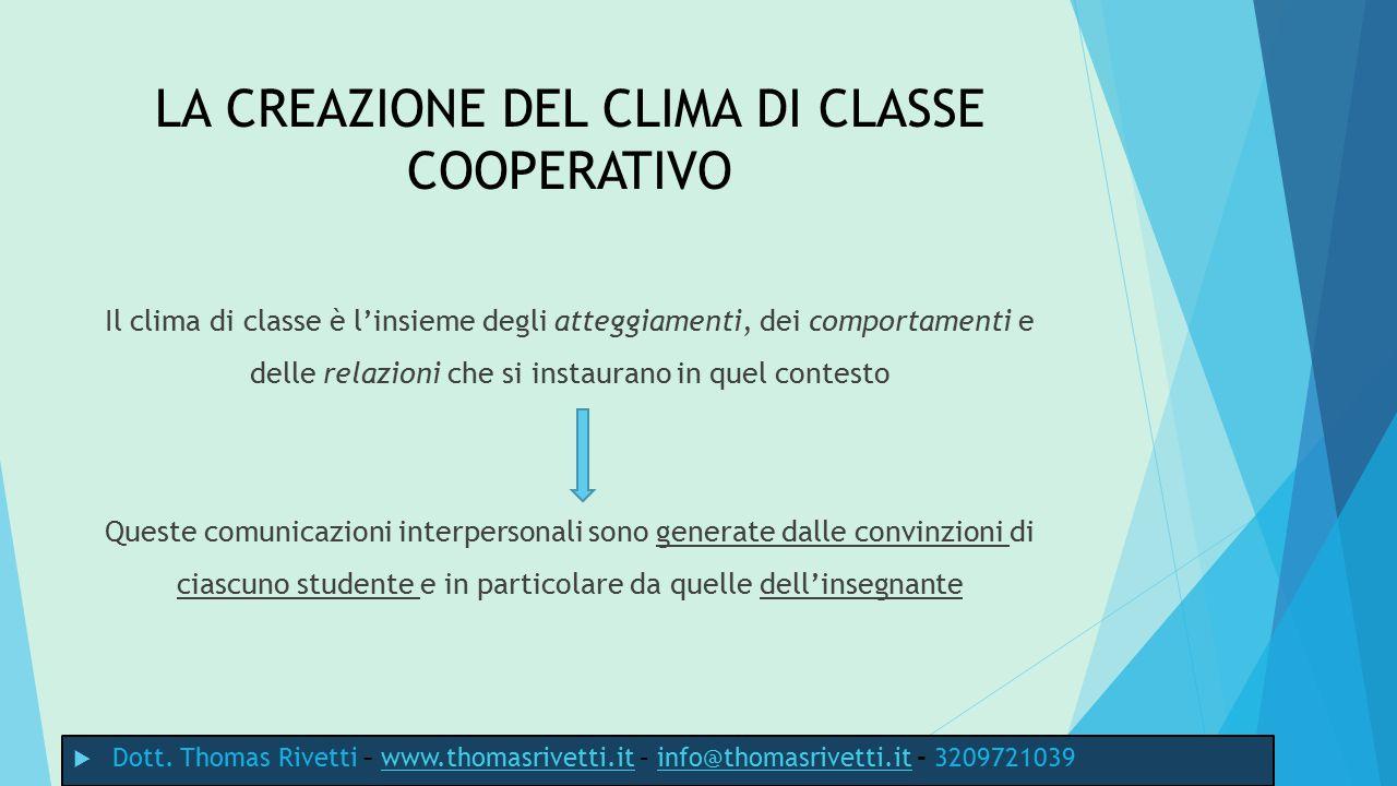 LA CREAZIONE DEL CLIMA DI CLASSE COOPERATIVO