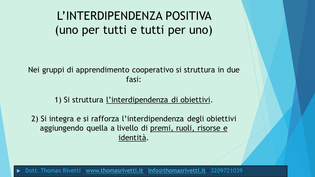L'INTERDIPENDENZA POSITIVA (uno per tutti e tutti per uno) Nei gruppi di apprendimento cooperativo si struttura in due fasi: 1) Si struttura l'interdipendenza di obiettivi. 2) Si integra e si rafforza l'interdipendenza degli obiettivi aggiungendo quella a livello di premi, ruoli, risorse e identità.