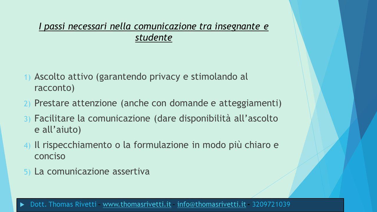I passi necessari nella comunicazione tra insegnante e studente