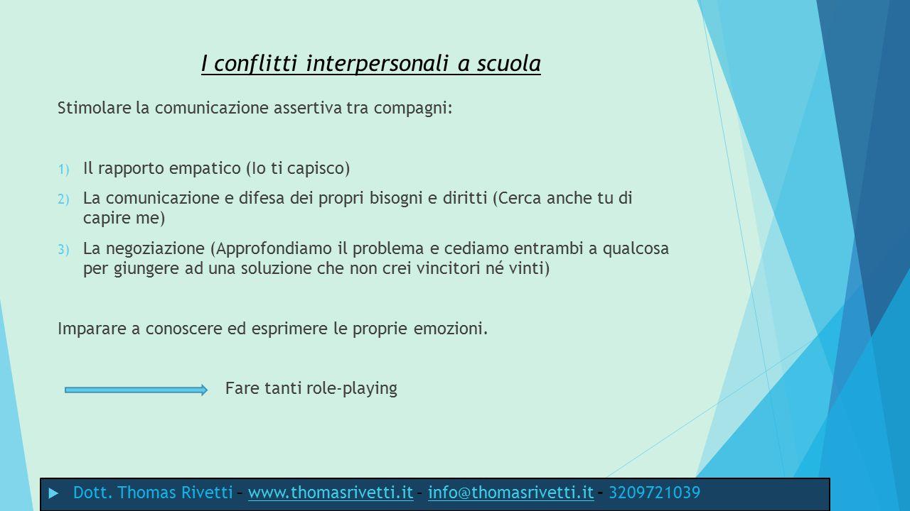 I conflitti interpersonali a scuola