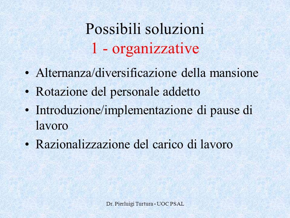 Possibili soluzioni 1 - organizzative
