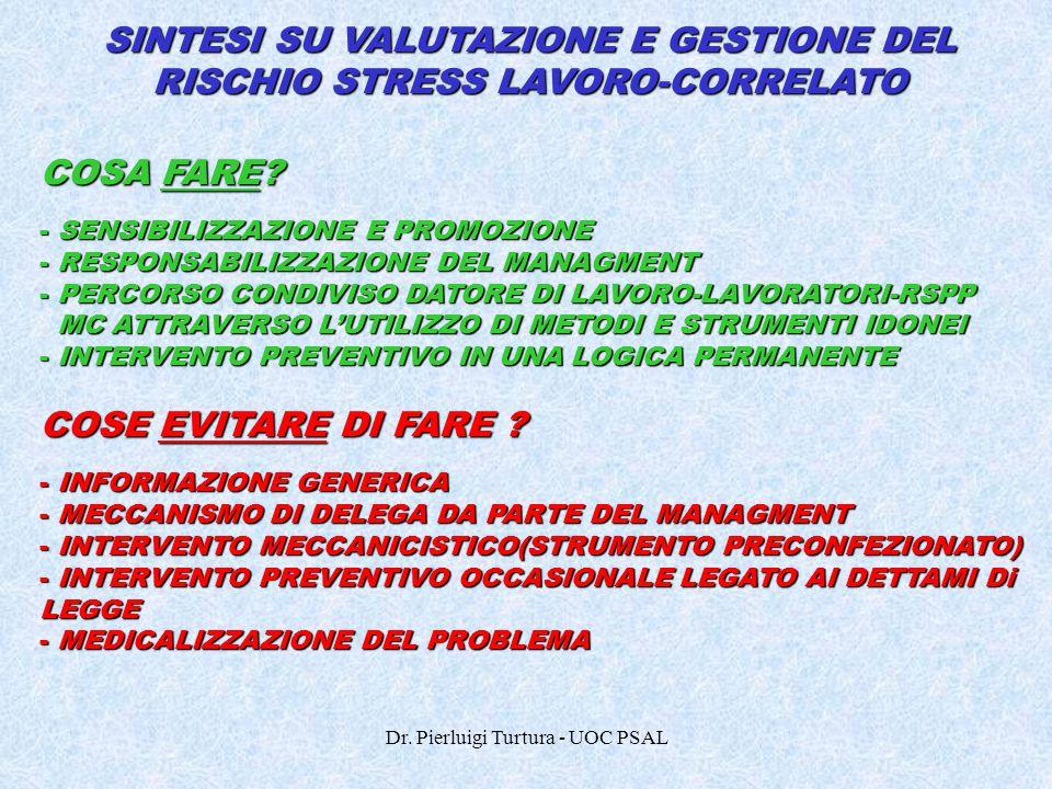 SINTESI SU VALUTAZIONE E GESTIONE DEL RISCHIO STRESS LAVORO-CORRELATO