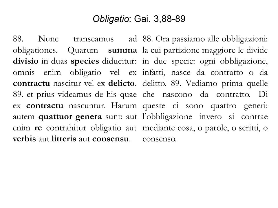 Obligatio: Gai. 3,88-89