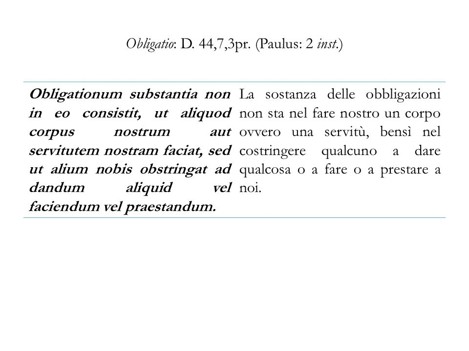 Obligatio: D. 44,7,3pr. (Paulus: 2 inst.)